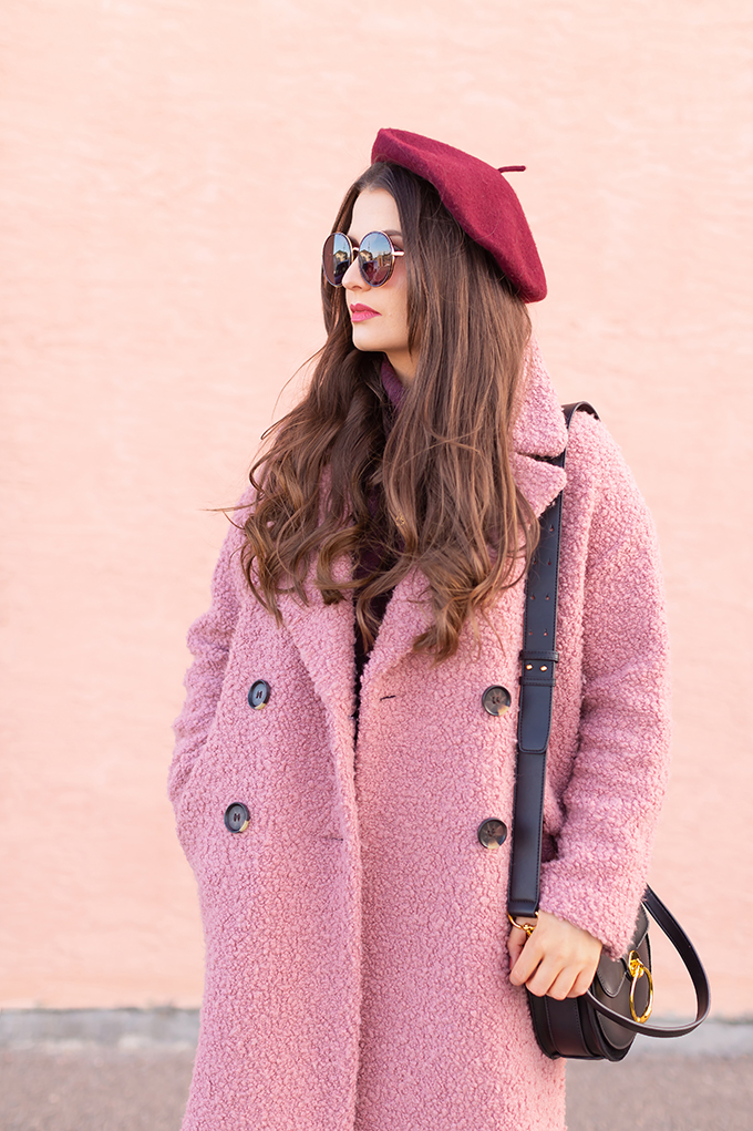 Raspberry Beret: My Favourite Warm, Comfortable Outfit Formula | Topshop Blush Teddy Coat Styled with a Wool Raspberry Beret, H&M burgundy sweater, Lancome Matte Shaker in Beige Vintage, Aldo Lerch Burgundy Sunglasses and the Artisan Anything Lara Leather Crossbody In Black (Amazing Chloe Tess Dupe!) | Stylish Winter 2019 Outfit Ideas | Valentine's Day Outfit Ideas for Cool Climates // Calgary, Alberta, Canada Fashion & Lifestyle Blogger // JustineCelina.com