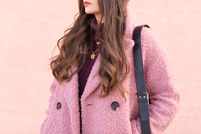 Raspberry Beret: My Favourite Warm, Comfortable Outfit Formula   Topshop Blush Teddy Coat Styled with a Wool Raspberry Beret, H&M burgundy sweater, Lancome Matte Shaker in Beige Vintage, Aldo Lerch Burgundy Sunglasses and the Artisan Anything Lara Leather Crossbody In Black (Amazing Chloe Tess Dupe!)   Stylish Winter 2019 Outfit Ideas   Valentine's Day Outfit Ideas for Cool Climates // Calgary, Alberta, Canada Fashion & Lifestyle Blogger // JustineCelina.com