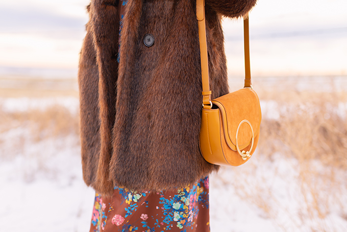 Pre Spring 2019 Trend Guide Bohemian Rhapsody: How to Style Midi Dresses for Transitional Spring Weather | Brown Floral Dress with a Brown Faux Fur Coat and Mustard Cross Body Bag | Bohemian Winter Style Ideas | Pantone Spring Summer 2019 Fashion Ideas | Calgary, Alberta, Canada Fashion & Lifestyle Blogger // JustineCelina.com