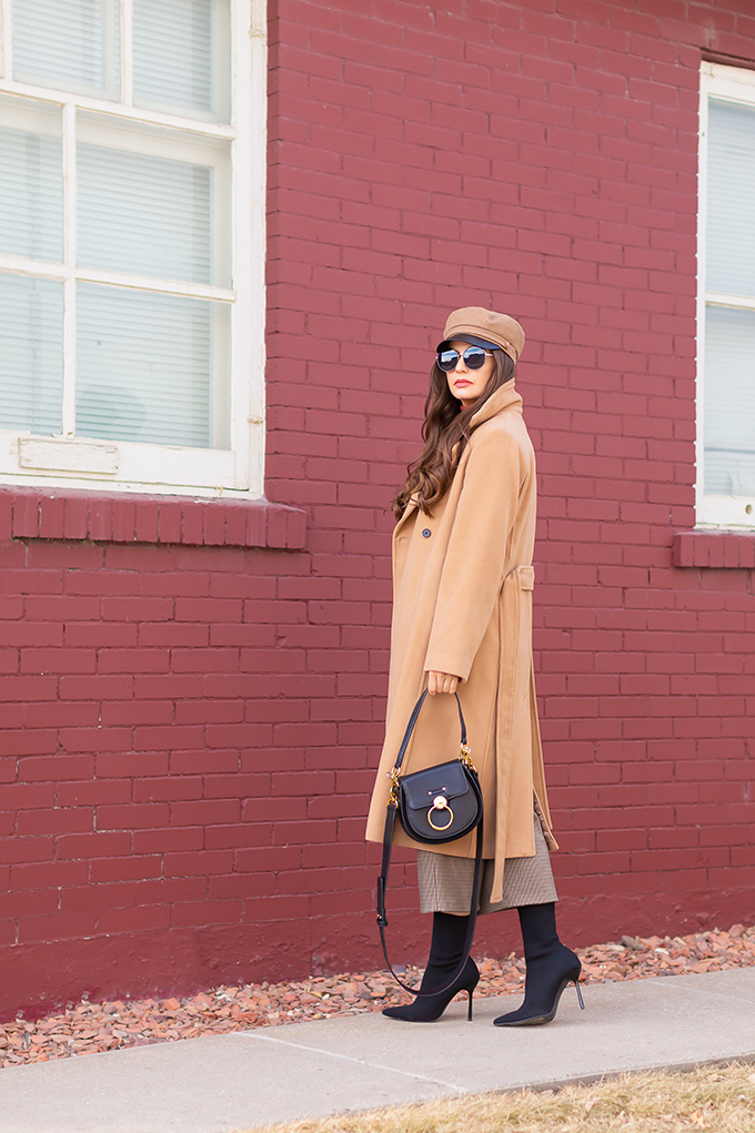 TRANSITIONAL STYLE STAPLES   WINTER TO SPRING 2019: My Go-To Polished Outfit for Transitional Weather   Aritzia Babaton Robbie Wool Coat Long styled with a Pantone Living Coral Turtle Neck, a Tweed and Leather TopShop Baker Boy Hat, Checked Culottes, Black Sock Boots, Artisan Anything Lara Leather Crossbody In Black (Amazing Chloe Tess Dupe!)  Stylish Winter / Spring Transitional 2019 Outfit Ideas   Calgary, Alberta Fashion Blogger // JustineCelina.com