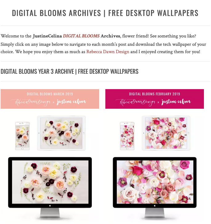 Browse the JustineCelina Digital Blooms archives   3 years of free floral tech wallpapers // JustineCelina.com