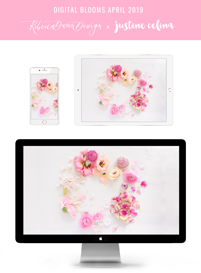 DIGITAL BLOOMS APRIL 2019 | FREE DESKTOP WALLPAPER + DIGITAL BLOOMS TURNS 3! | Free Spring 2019 Floral Desktop Wallpapers featuring Pink Ranunculus, Lisianthus, Hyacinths and Carnations on a marble background | Pantone Spring / Summer 2019 Tech Wallpapers | FREE Pink Floral Tech Wallpapers | The Best FREE Spring Tech Wallpapers | Free Floral Tech Wallpapers Spring 2019 // JustineCelina.com x Rebecca Dawn Design