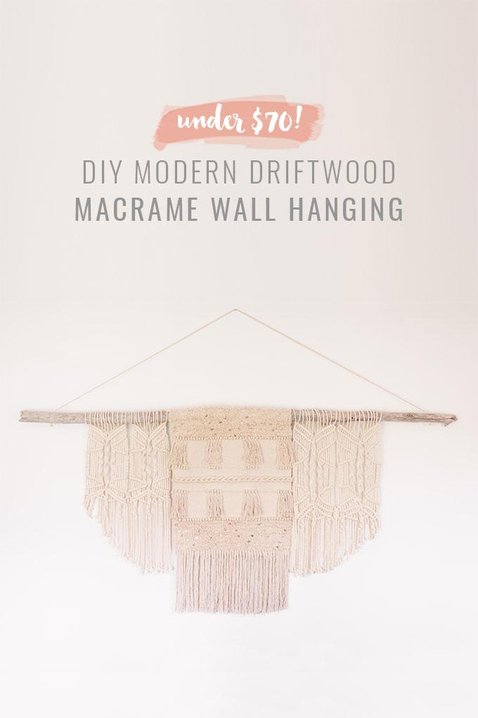 DIY | Modern Driftwood Macrame Wall Hanging  | How to Make a Large Macrame Wall Hanging for Less Than $70! | Macrame Wall Hanging Tutorial | Affordable Bohemian Wall Hanging DIY // JustineCelina.com