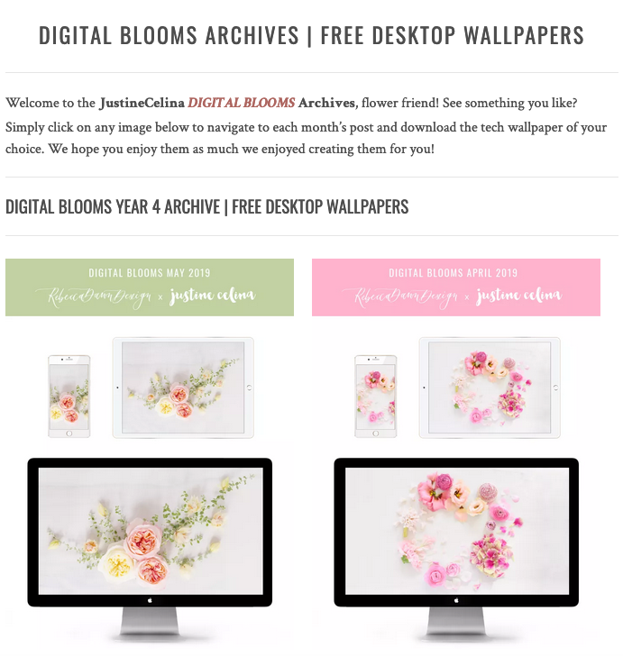 Browse the JustineCelina Digital Blooms archives for access to 4 years of free floral tech wallpapers // JustineCelina.com