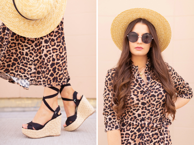 SPRING/SUMMER 2019 LOOKBOOK | Animal Instincts: How to Style a Button-Down Leopard Print Maxi Dress for Spring | Leopard Print Outfit Ideas Spring 2019 | Spring/Summer Vacation Outfit Ideas | Brunette woman wearing a Button-Down Leopard Print Maxi Dress styled with a straw hat, black lace up espadrilles and a black raffia minaudière bag | Top Spring/Summer 2019 Trends and how to wear them | Calgary Fashion & Creative Lifestyle Blogger