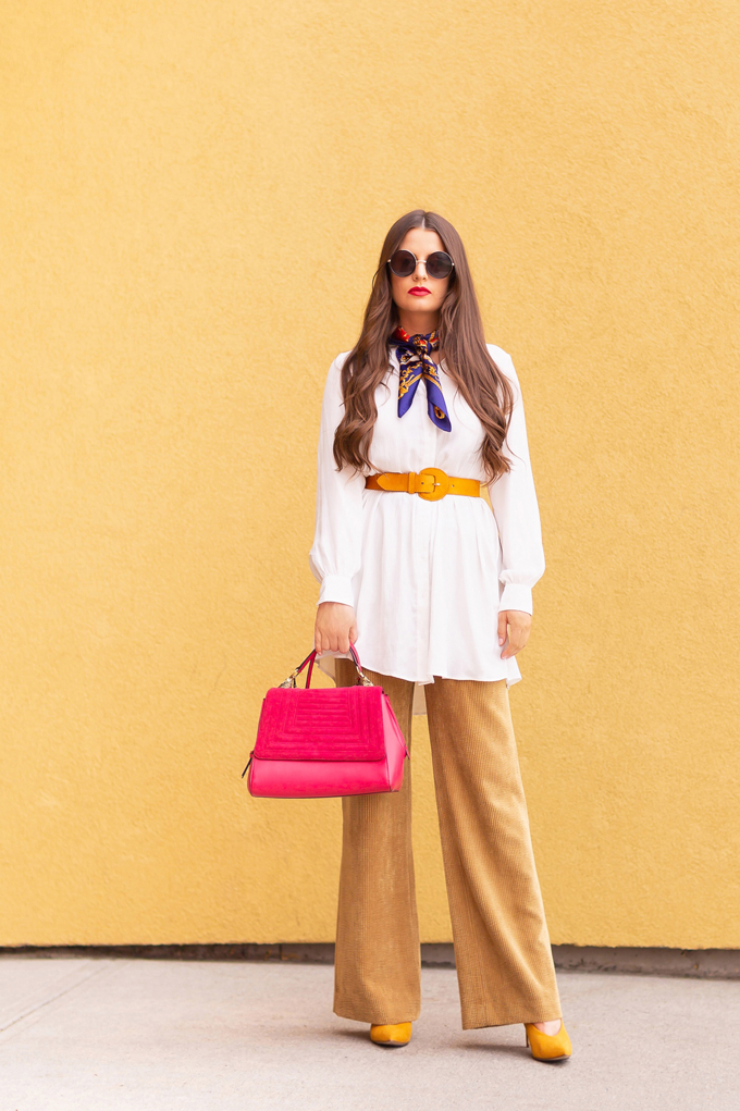 SPRING/SUMMER 2019 LOOKBOOK | Primary Style: Colourful Spring Outfit Ideas Spring 2019 | Professional Spring 2019 Outfits | Brunette woman wearing wide leg corduroy pants, a long white tunic with a yellow belt, a vintage neck scarf and red lip | How to Wear yellow for for SS19 | How to Wear the Pantone SS19 Fashion Colour Trend Report | Top Spring/Summer 2019 Trends and how to wear them | Calgary Fashion & Lifestyle Blogger // JustineCelina.com