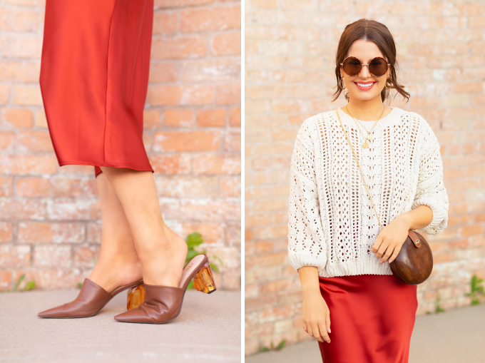 SPRING/SUMMER 2019 LOOKBOOK | Satin Knit: How to Style TopShop's Bias Cut Satin Midi Skirt for Spring  | TopShop Orange Satin Skirt Outfit Ideas Casual Daytime Spring Outfit Ideas | Brunette woman wearing a Topshop Orange Satin Midi Skirt styled with a cream fisherman knit sweater, brown leather mules and a Zara circular Wooden Bag | Spring/Summer 2019 Trends | Office Appropriate Spring/Summer Outfit Ideas | Calgary Fashion & Creative Lifestyle Blogger // JustineCelina.com