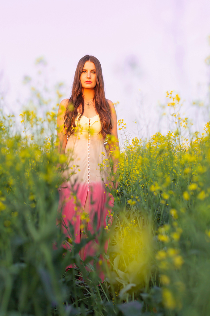 Another Trip Around The Sun | Brunette woman in a field of canola wearing a button-front ombre maxi dress at sunset celebrating her birthday | Bohemian Summer Outfit Ideas | Leo Season | Calgary, Alberta, Canada Lifestyle and Fashion Blogger, Justine Celina Maguire | JustineCelina Birthday | JustineCelina.com