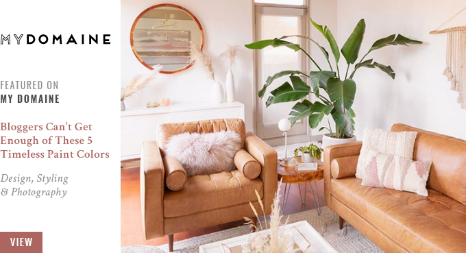 JustineCelina's Living Room featured on My Domaine: Bloggers Can't Get Enough of These 5 Timeless Paint Colors // JustineCelina.com