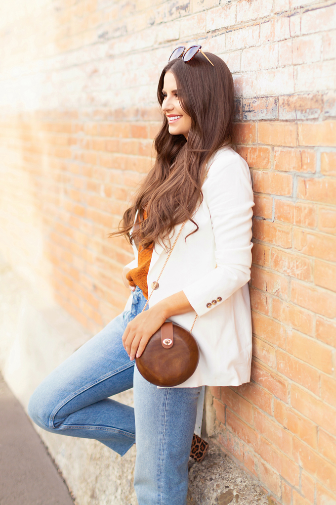 LATE SUMMER 2019 LOOKBOOK | Business Casual: How to Style a Knit Tanks and Linen Blazers for Transitional Weather | How to Style Denim for the Office | Summer/Fall 2019 Business Casual Outfit Ideas | Brunette woman wearing a White Linen Blazer with a Burnt Orange Knit Tank, Light Wash, High Waist, Cropped, Mom Fit Jeans and Low Block Heel Leopard Sandals  | Top Summer to Fall 2019 Transitional Trends and how to wear them | Calgary Fashion Blogger // JustineCelina.com