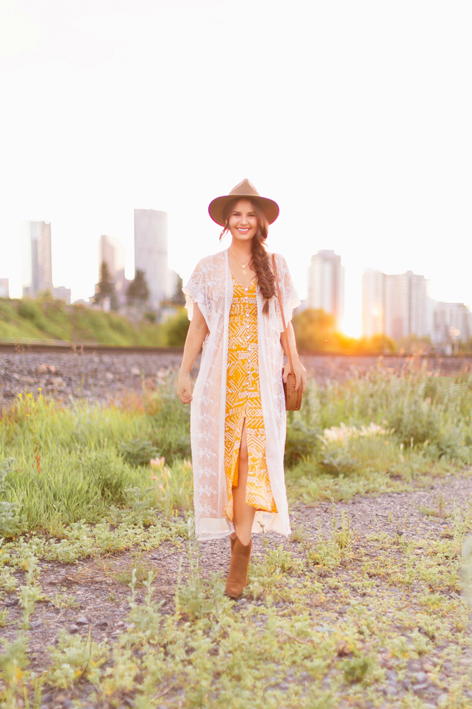 LATE SUMMER 2019 LOOKBOOK | Stampede 2019/2020 Outfit Ideas | Brunette Woman wearing a button-down mustard Aztec print midi dress with a sheer lace kimono, Bali Round Woven Bag, felt wide-brim hat and western ankle boots | What to Wear to The Calgary Stampede | Calgary Stampede Dress Code | Bohemian Western Inspired Outfit Summer 2019/2020 | Boho Stampede Style | Justine Celina Maguire // JustineCelina.com