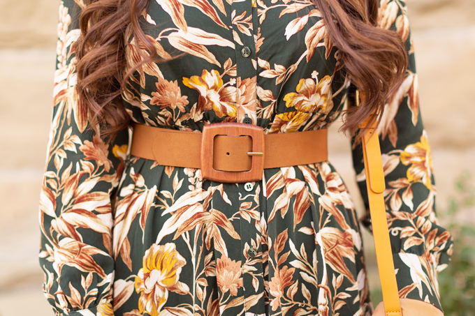 Summer to Fall 2019 Transitional Lookbook |  Top Summer to Fall 2019 Transitional Trends | Top Autumn 2019 Trends and How to Wear Them | The Best Dresses for Work | Fall 2019 Professional Outfit Ideas | Brunette woman wearing an H&M Dark Green Floral Button-Down Midi Dress, Mustard Velvet Block Heeled Sandals, Mustard Leather Bag and a Mango Leather Belt with Wooden Buckle | Top Calgary Fashion & Creative Lifestyle Blogger // JustineCelina.com
