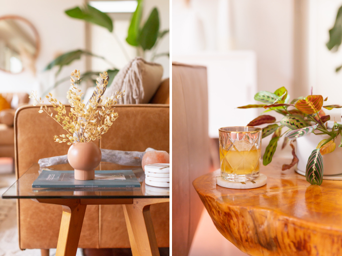 How to Transition Your Decor Into Fall | Easy and inexpensive fall decorating ideas | JustineCelina's Inner City Calgary bohemian, mid-century modern apartment | A Bohemian, Mid-Century Modern Living Room featuring Dried Arrangements and a Glass of Scotch | Fall Decor 2019 Trends | Bohemian, Mid Century Modern Fall Decor | Pantone Fall Winter 2019 / 2020 Interior Design Trends | Fall Decorating DIY | Calgary Lifestyle, Interior Design and Home Decor Blogger // JustineCelina.com