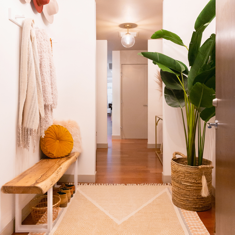 Space Refresh: Entrance Way Reveal in Partnership with Mobilia Canada | A Bohemian, Mid-Century Modern Apartment Entrance Way | Justine Celina Maguire's Home | 2019 Home Decor Trends | Behr Ultra Pure White | Mobilia Aly Velji Modern India Collection Review | Bohemian, Mid Century Modern Decor | Faux Bird of Paradise Plant | Calgary Lifestyle, Interior Design and Home Decor Blogger // JustineCelina.com