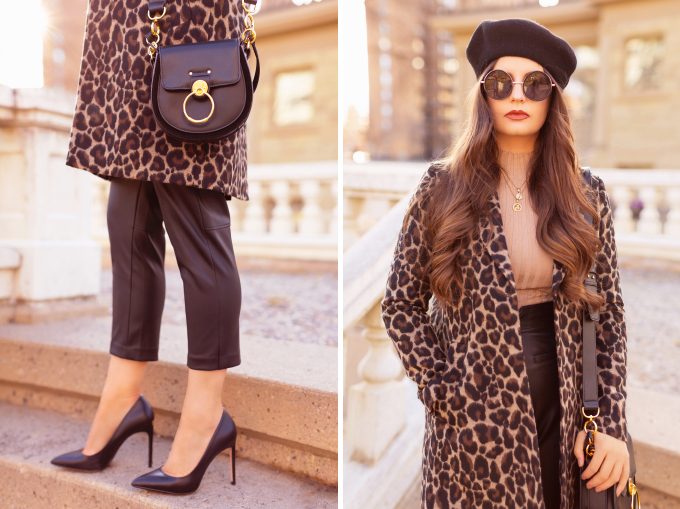 Autumn 2019 Lookbook: Leopard & Leather | Top Fall / Winter 2019 Trends | Top Autumn 2019 Trends and How to Wear Them | Brunette woman wearing H&M vegan leather trousers with a leopard print coat, black beret, black leather pointed toe pumps and a black Chloe Tess | Chic Fall / Winter 2019 Outfits | How to Style Leopard Print for 2019 / 2020 | How to Style Faux Leather Pants | How to Wear a Beret | Top Calgary Fashion & Creative Lifestyle Blogger // JustineCelina.com