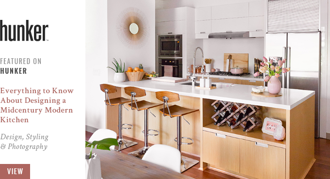 JustineCelina's Kitchen Featured in Hunker.com's Everything to Know About Designing a Midcentury Modern Kitchen // JustineCelina.com