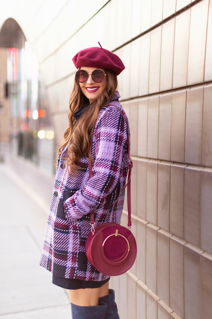 Autumn / Winter 2019 Lookbook: Classic | Top Fall / Winter 2019 / 2020 Trends | Top Winter 2019 / 2020 Trends and How to Wear Them | Brunette woman wearing a Joe Fresh Wool Plaid Coat, OTK Classic Blue Suede Boots, Raspberry Beret and Burgundy Crossbody Bag in and urban Setting | How to Wear Pantone's 202 Color of the Year, Classic Blue | Pantone Color of The Year 2020 Fashion | Clove + Hallow Uptown Lip Velvet | Top Calgary Fashion Blogger // JustineCelina.com