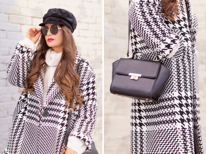 Autumn / Winter 2019 Lookbook: Houndstooth Chic | Top Fall / Winter 2019 / 2020 Trends | Top Winter 2019 / 2020 Trends and How to Wear Them | Brunette woman wearing a Zara Oversized Houndstooth Coat, Black Round Sunglasses, a Velvet Baker Boy Hat, a Chunky Cream Sweater, Black Faux Leather Leggings, and TopShop Leather Asymmetric Ankle Booth | How to Style a Houndstooth for 2020 | How to Wear Houndstooth | Chic Winter Fashion Ideas | Top Calgary Fashion Blogger // JustineCelina.com