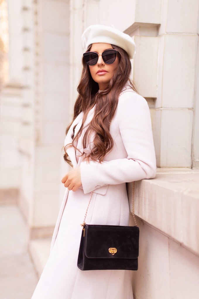 Autumn / Winter 2019 Lookbook: Parisian Plaid | Top Fall / Winter 2019 / 2020 Trends | Top Winter 2019 / 2020 Trends and How to Wear Them | Brunette woman wearing an Evernew Tori Double Breasted Crombie Coat in Blonde, Nordstrom's Made Bp. Perfect Cat Eye Sunglasses in Black, Cream Beret and Vintage Suede Crossbody Bag Downtown | How to Style Millennial Pink in 2020 | Chic Winter Fashion Ideas | Clove + Hallow Lip Crème in Ballerina Slippers | Top Calgary Fashion Blogger // JustineCelina.com
