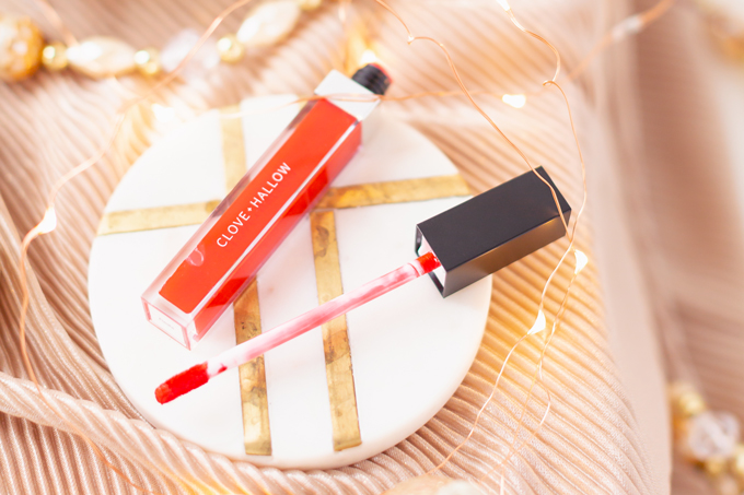 My Top 5 Red Lipsticks for the Holidays | Clove + Hallow Lip Velvet in Fiesta photos, review, swatches | Brunette woman wearing a festive red lipstick | best red lipstick for MAC NC 25 - 30 skin, best clean vegan red lipstick, best carmine free red lipstick, best lipstick for winter complexion, must have lipsticks 2019, best red liquid lipstick, best long lasting red lipstick, Christmas lipstick 2019, winter lipstick colors 2019 | Calgary Beauty Blogger // JustineCelina.com