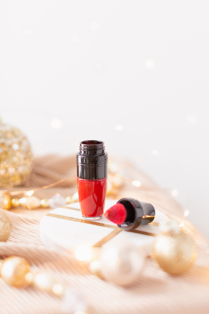 My Top 5 Red Lipsticks for the Holidays | LancômeMatte Shaker High Pigment Liquid Lipstick inKiss Me Chérie photos, review, swatches | Brunette woman wearing a festive red lipstick | best red lipstick for MAC NC 25 - 30 skin, best universal red lipstick, best luxury red lipstick, best lipstick for winter complexion, best red liquid lipstick, best long lasting red lipstick, best red lipstick 2019, Christmas lipstick 2019 | Calgary Beauty Blogger // JustineCelina.com