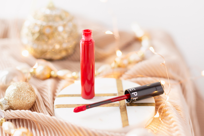 My Top 5 Red Lipsticks for the Holidays |  SEPHORA COLLECTION Cream Lip Stain in 01 Always Red photos, review, swatches | Brunette woman wearing a festive red lipstick | best red lipstick for MAC NC 25 - 30 skin, best universal red lipstick, best luxury red lipstick, best lipstick for winter complexion, best red liquid lipstick, best long lasting red lipstick, best red lipstick 2019, Christmas lipstick, Brunette woman wearing a holiday red lipstick | Calgary Beauty Blogger // JustineCelina.com