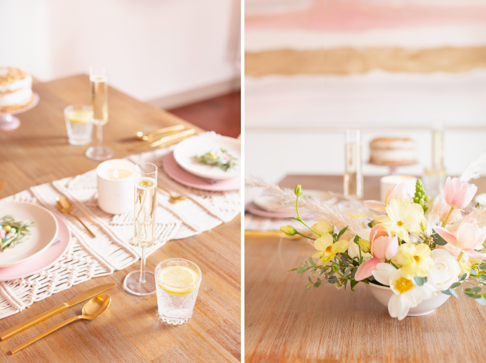A Simple Easter Dinner for Two | JustineCelina's Mid Century Modern Bohemian Dining Room Set for Easter | Easter Table Setting with a Mini Egg Birds Nest on Each Place Setting, Pastel Dinnerware, Champagne Flutes, Lemon Water, Gold Flatware, a Candle and Macrame Table Runner | Easter 2020 | Easter Entertaining at Home | Easter Floral Centrepieces | Easy Easter Decor Ideas | Mid Century Modern Easter Decor | Easy Easter Table Settings | Calgary Lifestyle and Decor Blogger // JustineCelina.com