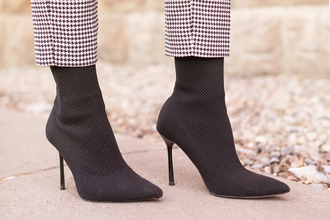 WINTER / SPRING 2020 LOOKBOOK | Boss Babe | Woman wearing H&M Houndstooth Paperbag Pants and Black Zara Sock Boots | Shoe Trends 2020 | New Boot Styles 2020 | Professional Winter to Spring Outfit Ideas | Top Transitional Winter to Spring 2020 Trends | Canadian Winter / Spring Lookbook | How to Wear Spring 2020's Mini Dress | Transitional Winter to Spring Fashion for Canadians // JustineCelina.com