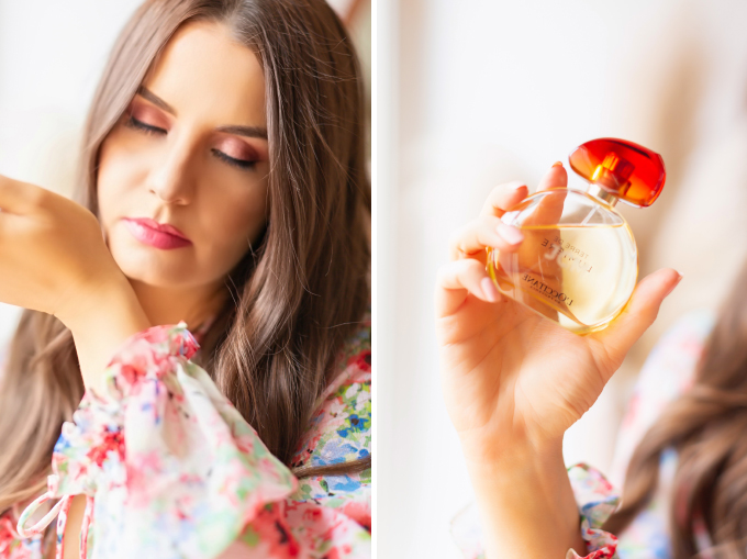 My Favourite Floral Fragrances | The Best Floral Fragrances for Spring | Floral Fragrances 2020 | The Best Luxury Floral Fragrances | Designer Floral Fragrances 2020 | Classic Floral Perfumes | Best Floral Perfumes of all Time | Best Fruity Perfumes | Citrus Floral Perfumes | L'Occitane Terre de Lumière Eau de Parfum Photos and Review | Brunette woman holding an engraved bottle of perfume wearing pink lipstick | Calgary, Alberta Beauty & Lifestyle Blogger // JustineCelina.com