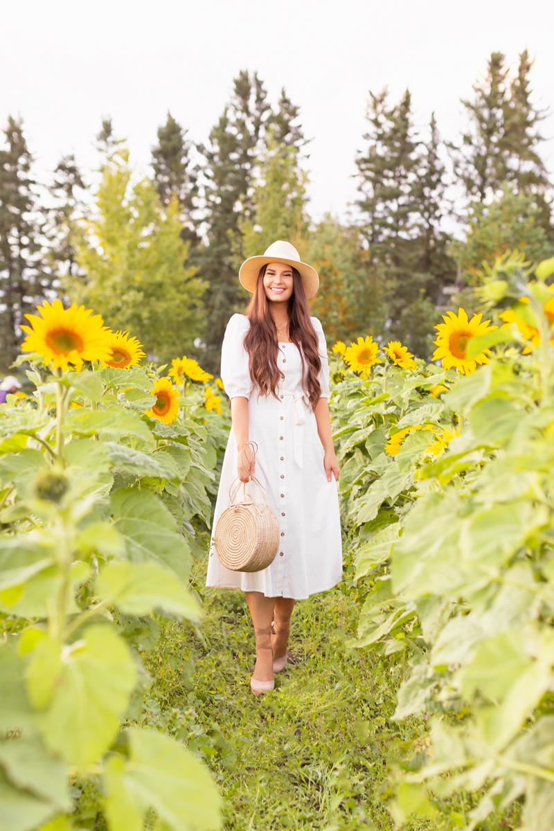 A Guide to Bowden SunMaze & Eagle Creek Farms | Bowden SunMaze September 2020 | Sunflower Field Near Me | The Best Alberta Sunflower Field | Alberta Sunflower U-Pick | Bowden SunMaze Sunflower Field Best Time To Go | Bowden SunMaze Cost | Eagle Creek Farms Review | Sunflower Field Photography Tips | Cottagecore Style | Smiling brunette woman wearing a cream Crêped Cotton Dress and woven fedora laughing in a field of sunflowers at sunset | Calgary Lifestyle Blogger // JustineCelina.com