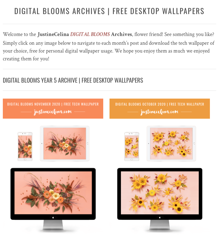 Browse the JustineCelina Digital Blooms archives for access to 5 years of free floral tech wallpapers // JustineCelina.com