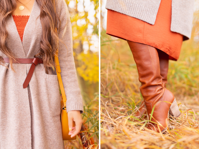 Early Autumn 2020 Lookbook | Cozy Coatigan | Brunette woman wearing a beige coatigan, cognac tie-detail belt, rust smocked dress and mustard crossbody saddle bag and cognac leather knee-high boots during the fall | Top Fall 2020 Trends | Boho Fall 2020 Outfit Ideas | Top Fall 2020 Trends | How to Style a Coatigan | The Best Coatigans | Bohemian Fall outfit Ideas | Cottagecore Fall Outfit Ideas | Calgary Alberta Fashion & Lifestyle Blogger // JustineCelina.com