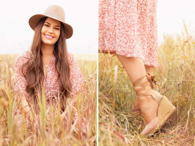 Early Autumn 2020 Lookbook | Prairie Chic | Brunette woman wearing a rose floral midi dress, nude espadrilles, a chunky cream knit, a tan felt fedora and a round jute bag in a wheat field | Boho Fall 2020 Outfit Ideas | Top Fall 2020 Trends | Fall on the Alberta Prairies | Thanksgiving Outfit Idea | Bohemian Fall outfit Ideas | The Best H&M Knitwear | Cottagecore Fall Outfit Ideas | How to Style Summer Dresses Into Fall Calgary Alberta Fashion & Lifestyle Blogger // JustineCelina.com