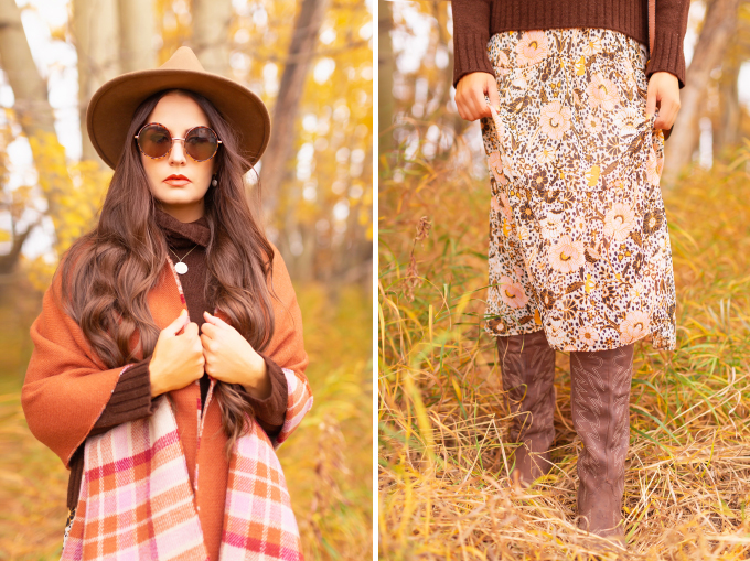 Fall 2020 Lookbook | A Lesson in Layering | Brunette woman wearing a fall floral midi dress, a burnt orange shawl, a brown fedora and a round cognac crossbody bag amongst fall leaves | Boho Fall 2020 Outfit Ideas | Top Fall / Winter 2020 Trends | Bohemian Fall / Winter outfit Ideas | Cottagecore Fall / Winter Outfit Ideas | How to Style Midi Dresses for Fall and Winter | Creative Layering Ideas | How to Mix Prints | Calgary Alberta Fashion Blogger // JustineCelina.com
