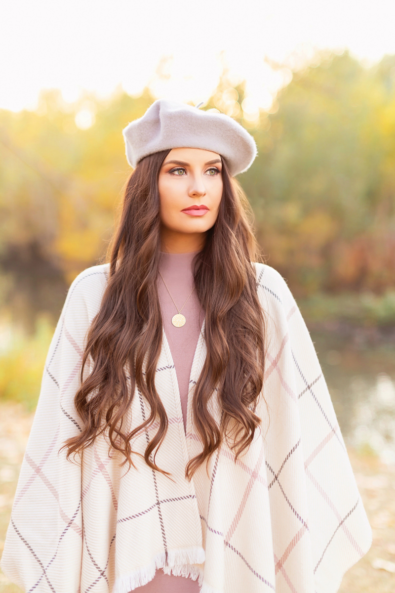 Fall 2020 Lookbook | Ruana Revival | Brunette woman wearing a cream ruana poncho, cotton blush sweater dress, grey beret and gold coin necklace | Boho Fall 2020 Outfit Ideas | Fall in Calgary | How to Style a Poncho | Comfortable Fall / Winter Outfit Ideas | Timeless Fall Outfit Ideas | fallwinter 2020 2021 fashion trends | fall 2020 womens fashion trends | Uniqlo Canada Review | Monochromatic Fall Outfit Ideas | Casual Fall Fashion |  Calgary Alberta Fashion Blogger // JustineCelina.com