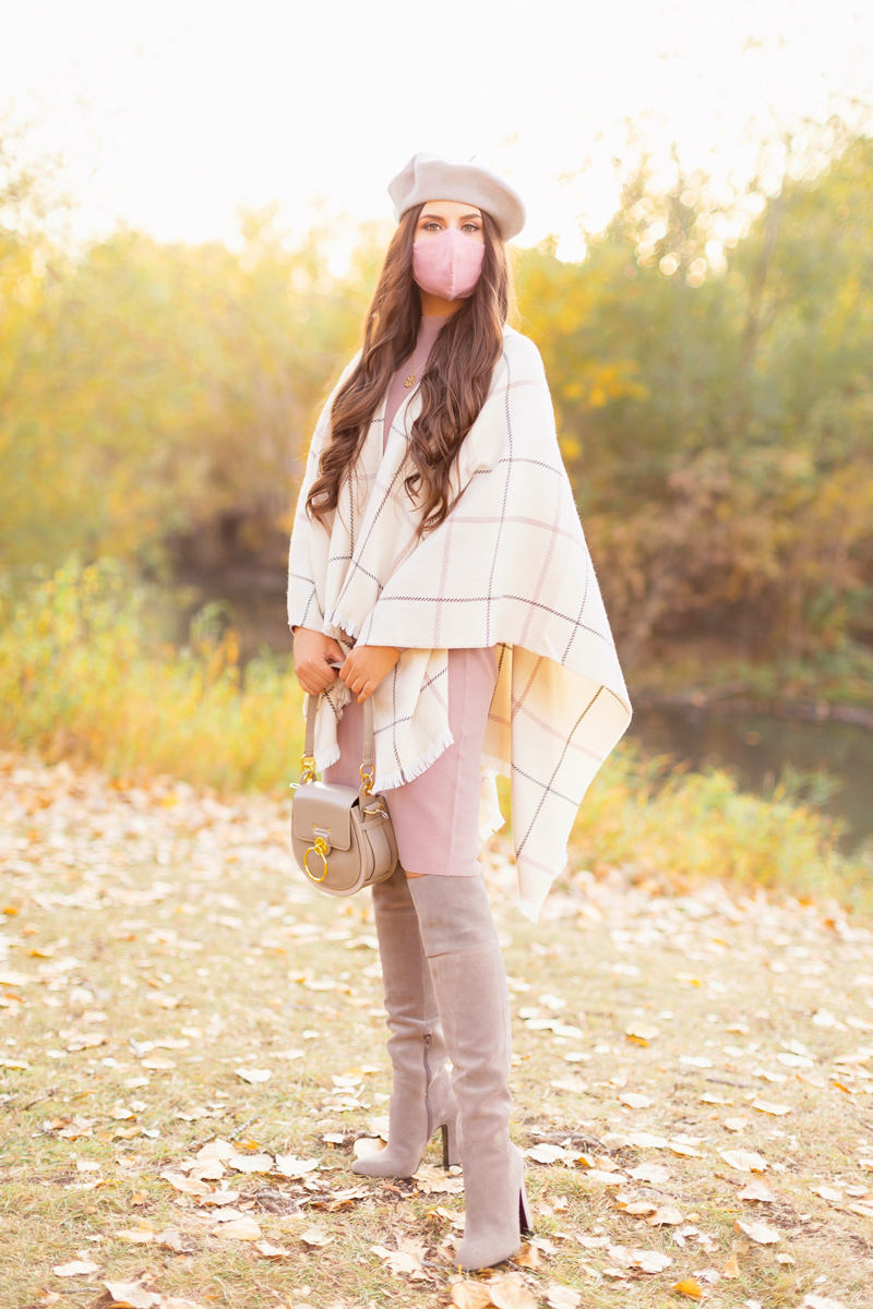 Fall 2020 Lookbook | Ruana Revival | Brunette woman wearing a cream ruana poncho, blush sweater dress, grey beret, grey Chloe Tess bag & grey knee high suede boots | Boho Fall 2020 Outfit Ideas | Fall in Calgary | How to Style a Poncho | Comfortable Fall / Winter Outfit Ideas | Timeless Fall Outfit Ideas | fallwinter 2020 2021 fashion trends | How to match your face mask to your outfit | The Best Linen Face Masks | Monochromatic Fall Outfit | Calgary Alberta Fashion Blogger // JustineCelina.com
