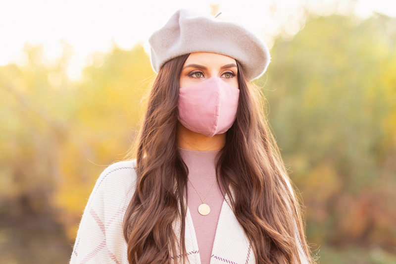 Fall 2020 Lookbook | Ruana Revival | Brunette woman wearing a cream ruana poncho, blush sweater dress, grey beret, and a blush 4 layer linen face mask | Boho Fall 2020 Outfit Ideas | Fall in Calgary | How to Style a Poncho | Comfortable Fall / Winter Outfit Ideas | Timeless Fall Outfit Ideas | fallwinter 2020 2021 fashion trends | How to match your face mask to your outfit | The Best Linen Face Masks | Monochromatic Fall Outfit | Calgary Alberta Fashion Blogger // JustineCelina.com