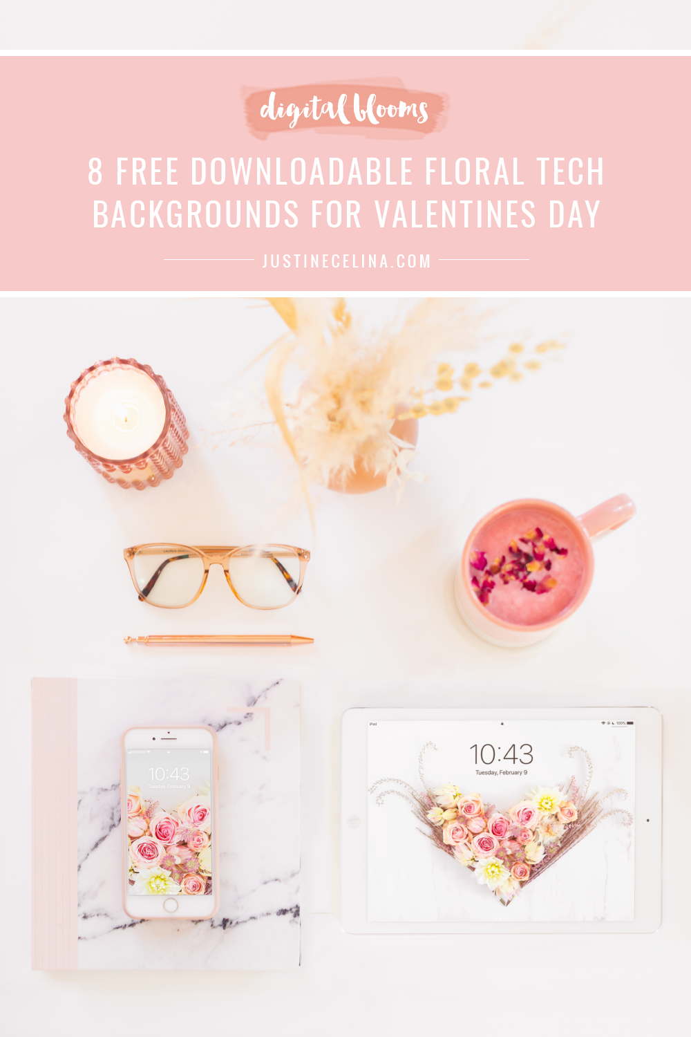 Free Valentine's Day Flower Wallpapers | 8 Free Downloadable Floral Tech Backgrounds for February | Feminine WFH set up with an iPad and iPhone featuring JustineCelina's floral heart wallpaper, a blush pink marble journal and planner, a pampas grass arrangement and rose petal latte blue light glasses on a white desk | Female Entrepreneur Digital Wallpapers | The Best of Justine Celina's February Digital Blooms | Best Valentine's Day Computer Backgrounds | Valentine's Day Desktop Wallpaper | Valentines Day Wallpaper iPhone | Calgary Creative Lifestyle Blogger // JustineCelina.com