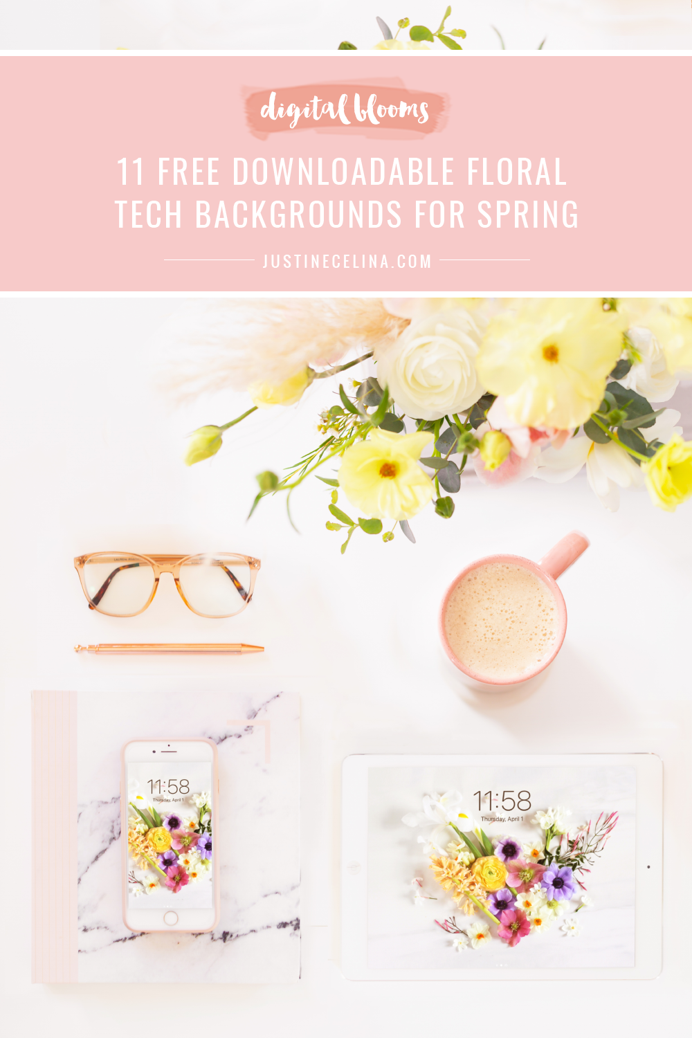 Free Spring Flower Wallpapers | 11 Free Downloadable Floral Tech Backgrounds for April | Feminine WFH set up with an iPhone and iPad featuring JustineCelina's spring floral heart wallpaper, a blush pink marble journal and planner, a pampas grass spring arrangement and latte on a white desk | Female Entrepreneur Digital Wallpapers | The Best of Justine Celina's April Digital Blooms | Best Spring Computer Backgrounds | Spring Desktop Wallpaper | March Wallpaper iPhone // JustineCelina.com